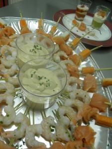 Brochettes de la mer sauce cocktail